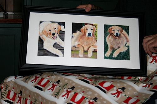 golden retrievers painting